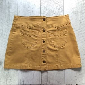"Mustard Yellow ""Denim"" Skirt"